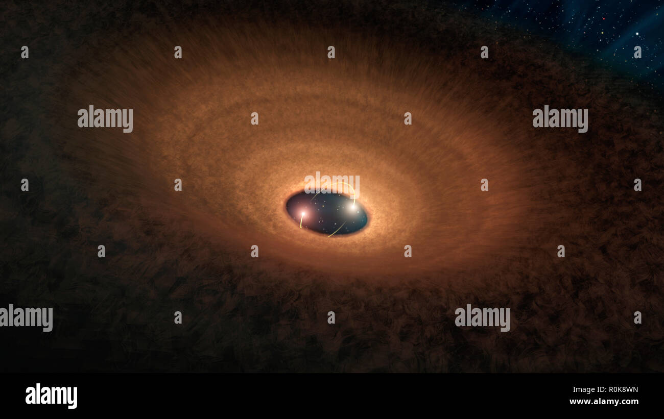 In this artist's impression, a disk of dusty material leftover from star formation girds two young stars like a hula hoop. - Stock Image