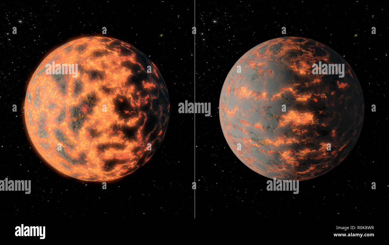 Super-Earth 55 Cancri e shows a hot partially-molten surface of the planet before and after volcanic activity. - Stock Image