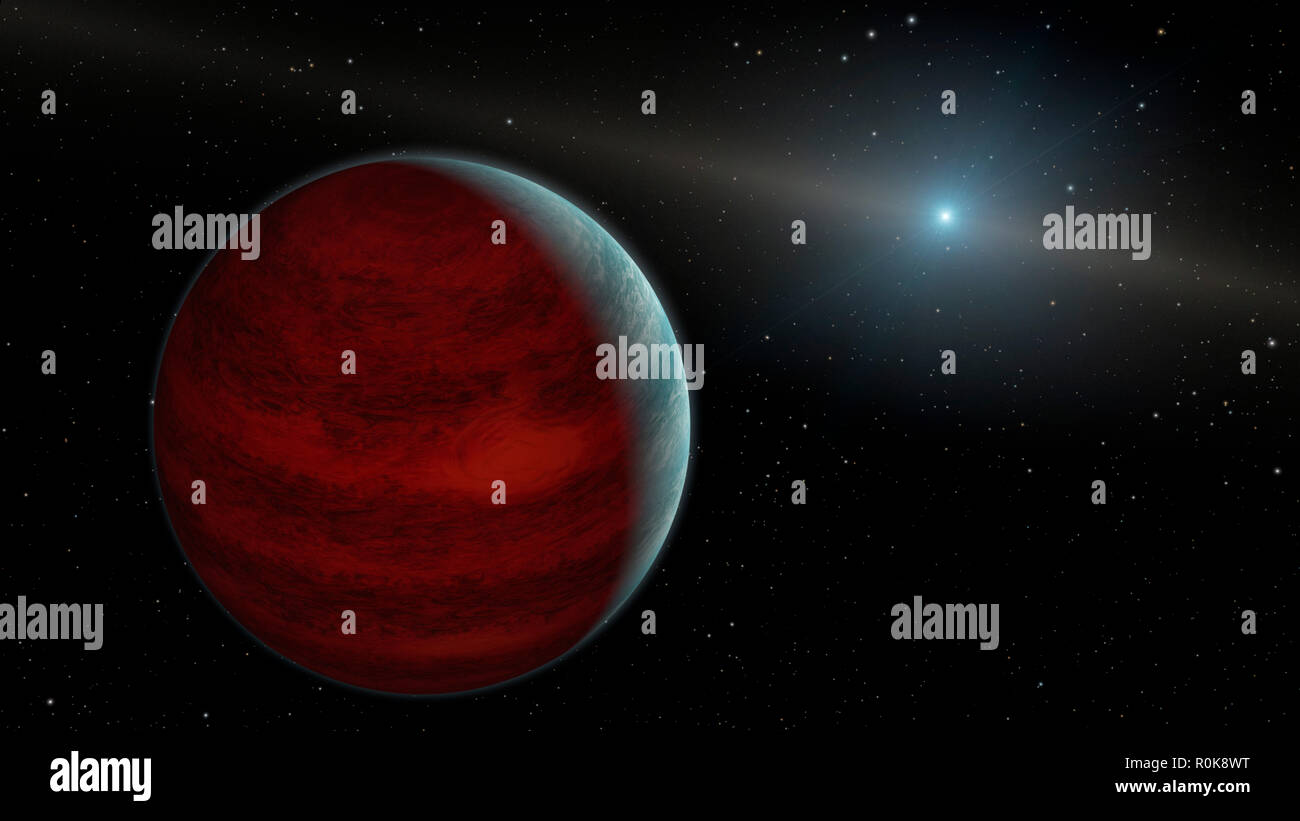 Artist concept of a gas giant planet around a white dwarf star. - Stock Image