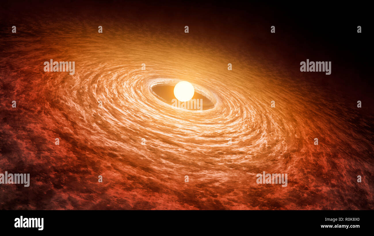 Artist concept illustrating disk of material surrounding star FU Orionis. - Stock Image