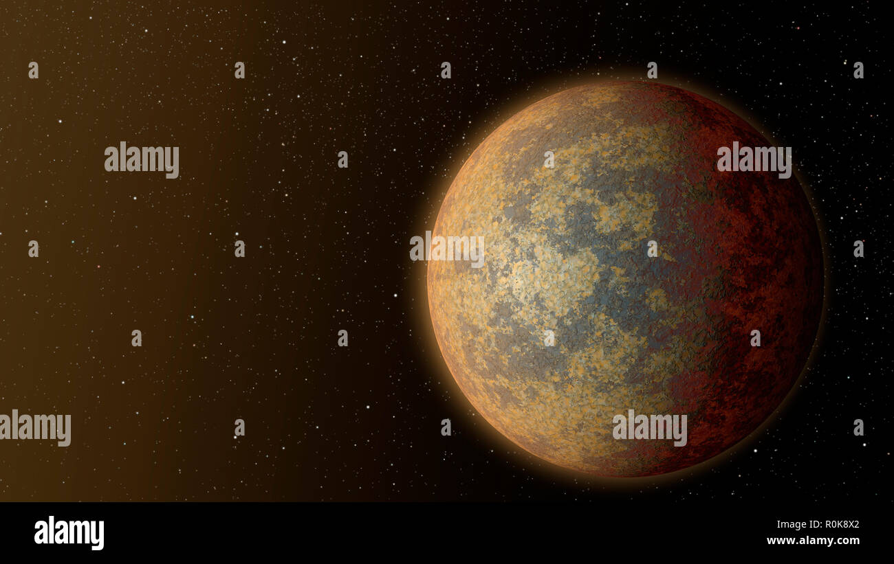 An artist's impression of the hot rocky exoplanet HD 219134 b. - Stock Image
