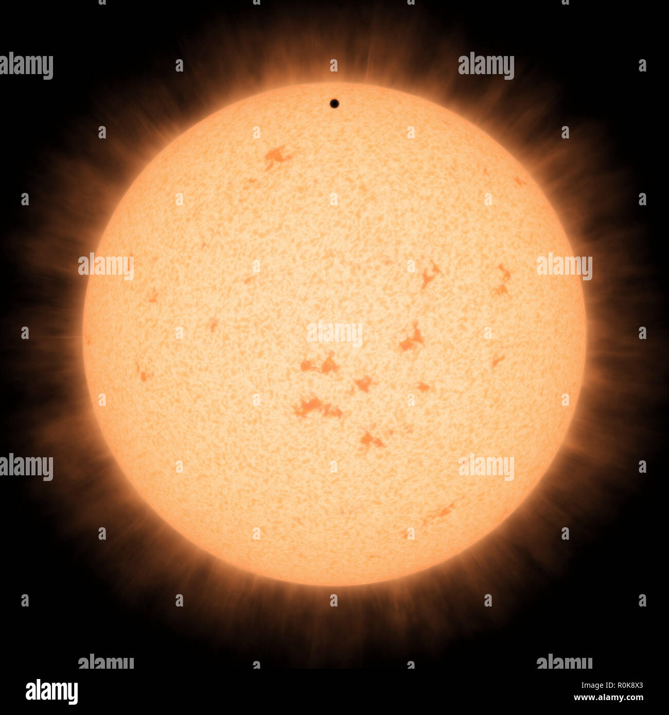 Artist's concept of the hot rocky exoplanet HD 219134 b as it passes in front of its star. - Stock Image
