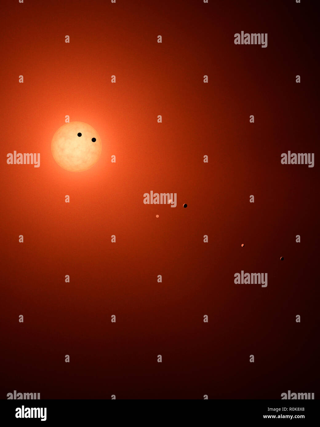 Artist's concept of the seven TRAPPIST-1 planets orbiting their Sun. - Stock Image