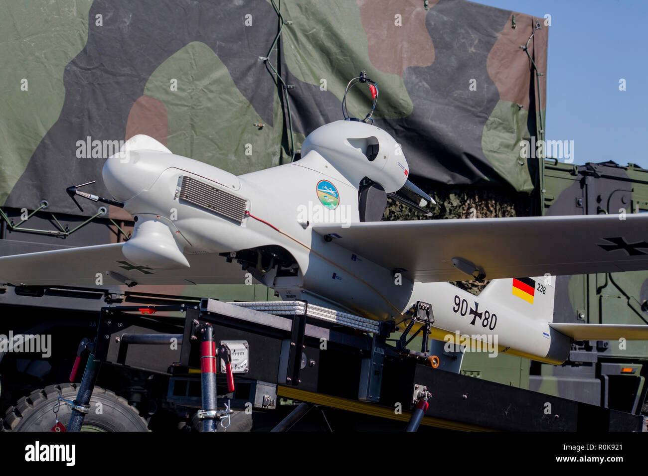 Luna drone of the German Forces with launcher vehicle. - Stock Image