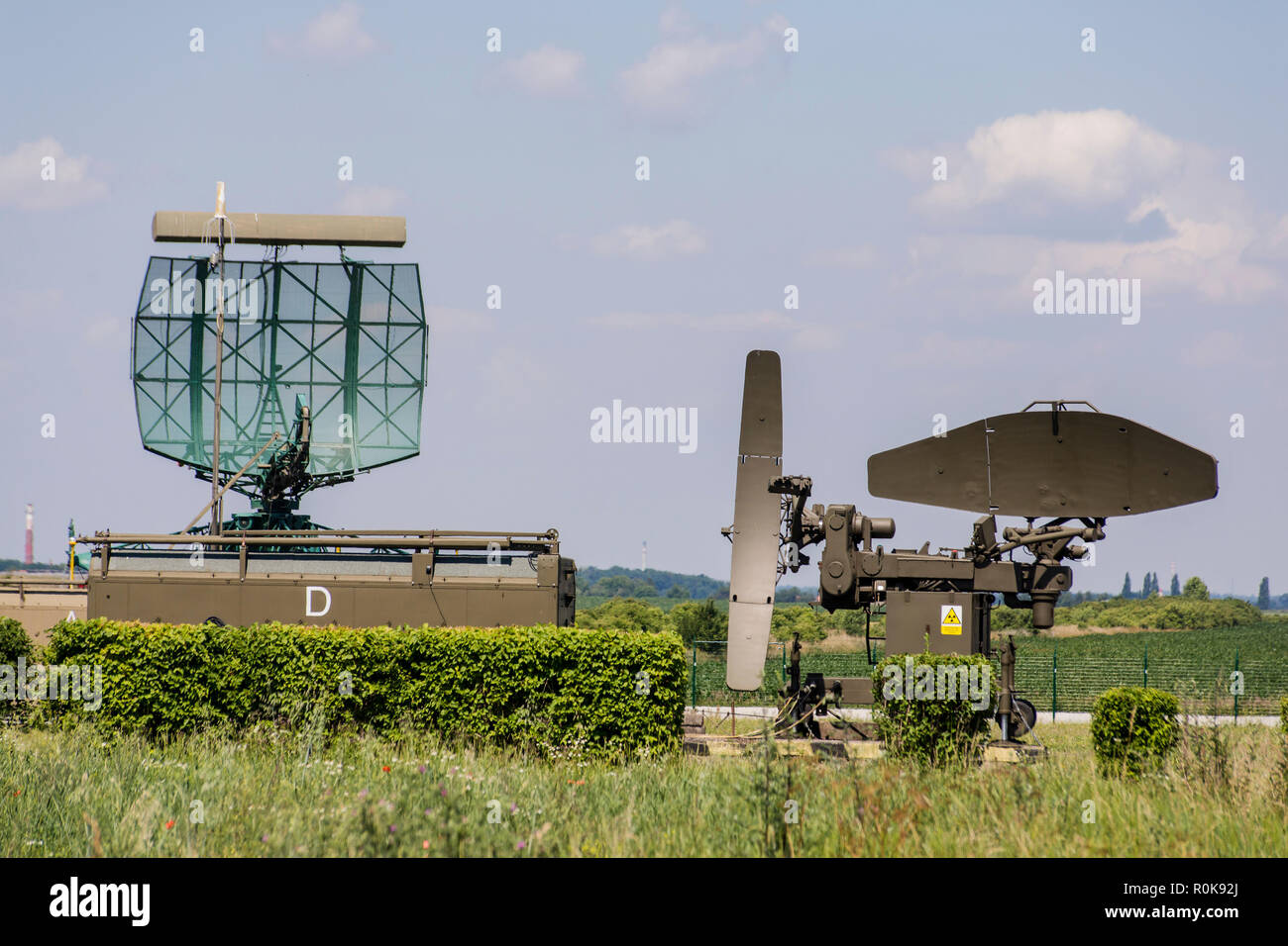 Approach radar and ILS at Czech Air base. - Stock Image