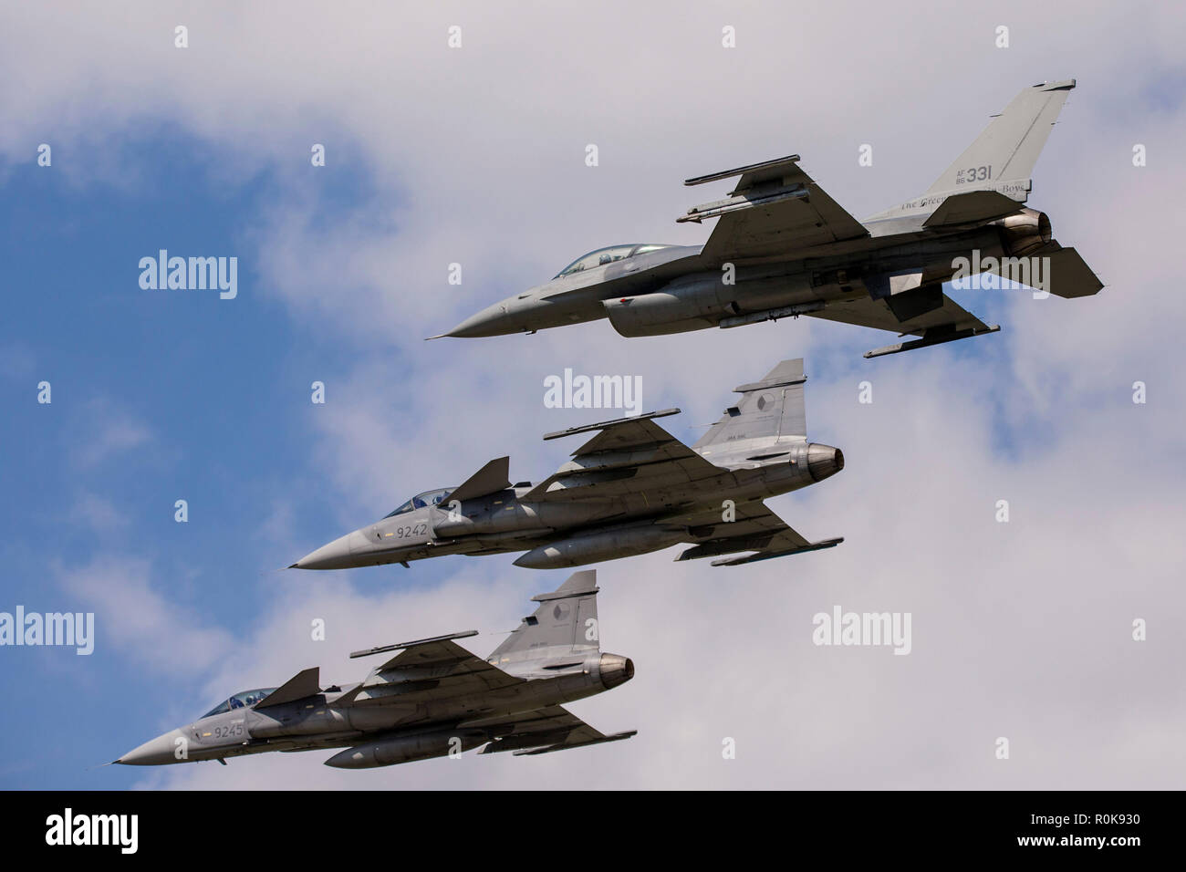 JAS-39 Gripen aircraft of the Czech Air Force fly in