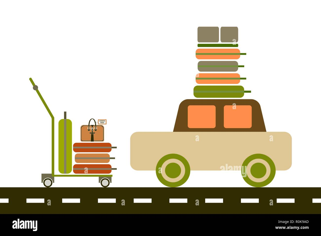 Vector flat illustration. Luggage trolley with suitcases. Car with luggage on the roof. The baggage is on the luggage trolley. For infographic, catalo - Stock Vector