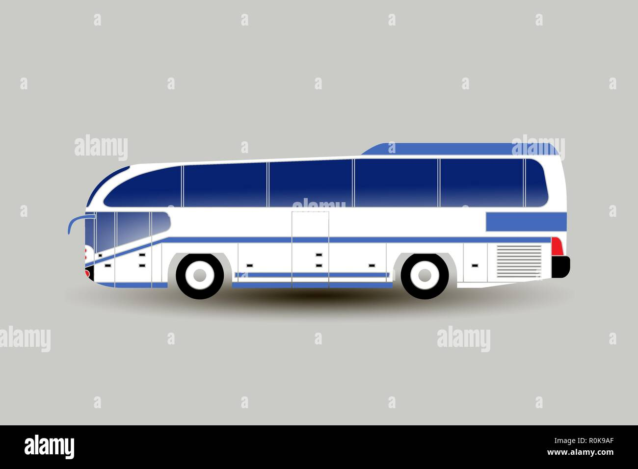 Vector flat illustration of a modern intercity or tourist bus. Bus side view isolated. For catalogs, information, travel. All layers and groups are or - Stock Vector