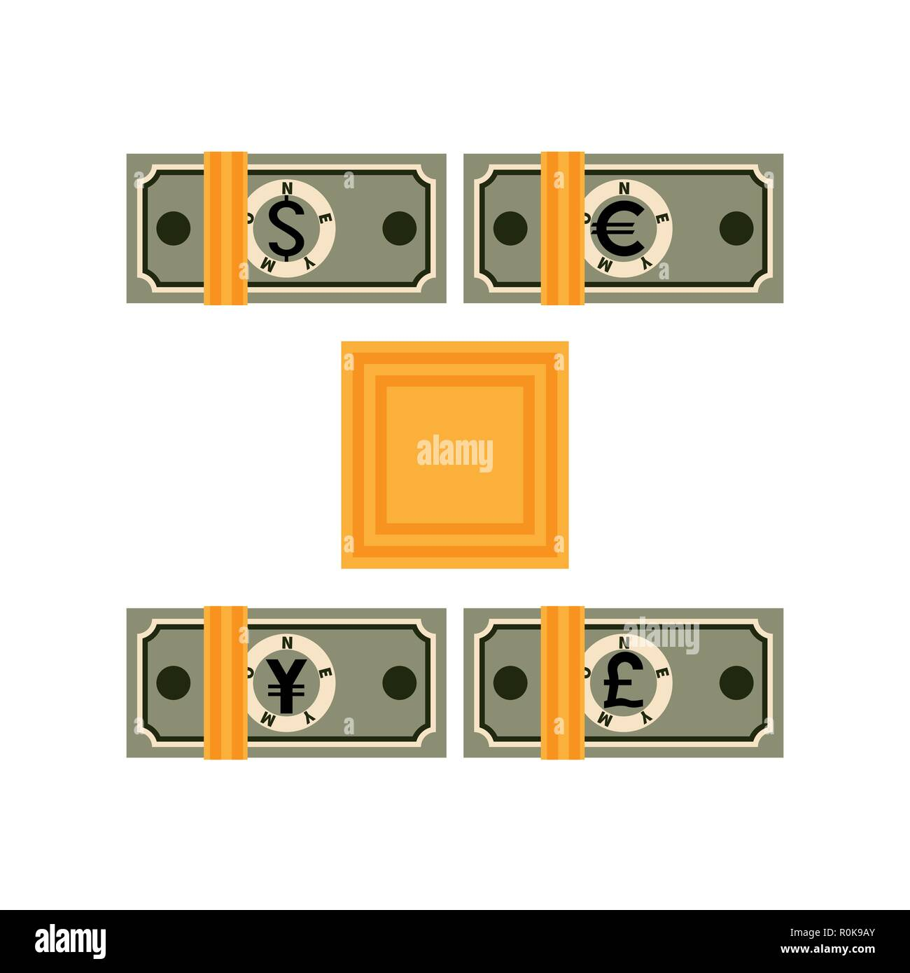 Four bundles of banknotes tied with bank paper tape. Paper money from different countries. Packages with abstract dollars, euros, yens, pounds sterlin - Stock Vector