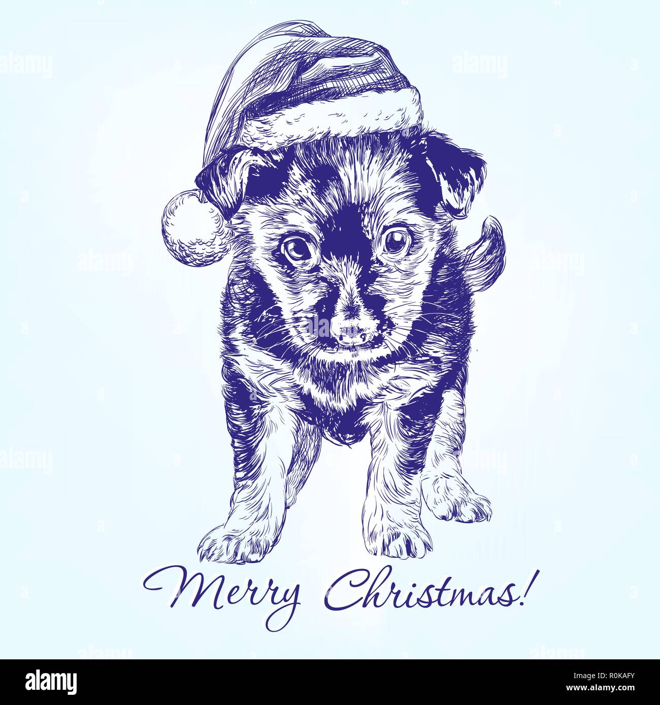 Christmas Puppy In Santa Stocking Hat Hand Drawn Vector Llustration Sketch Stock Vector Image Art Alamy