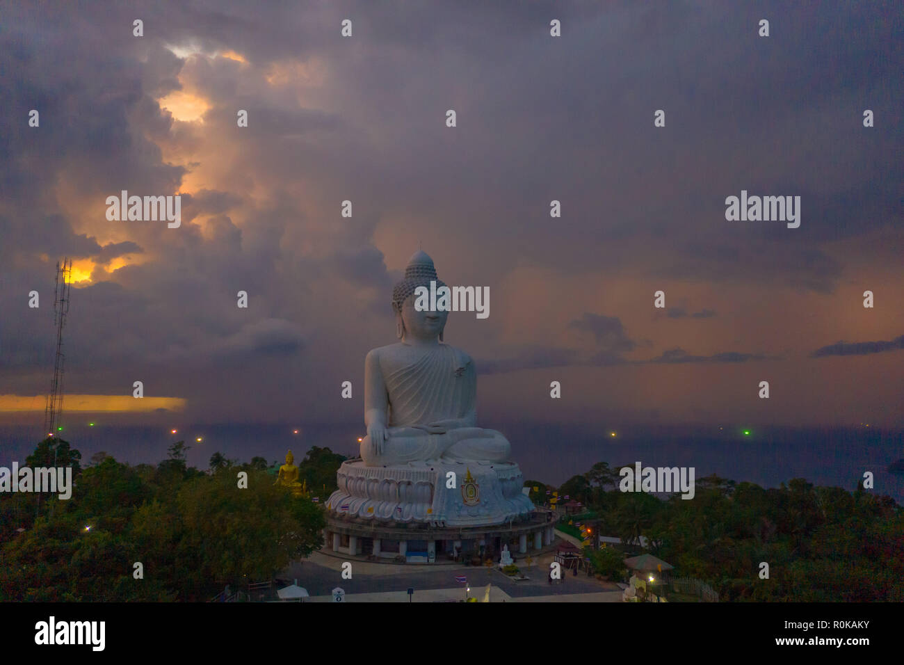Phuket Big Buddha is one of the island most important and revered landmarks on the island. Phuket big Buddha is on the top of high mountain can see ar - Stock Image