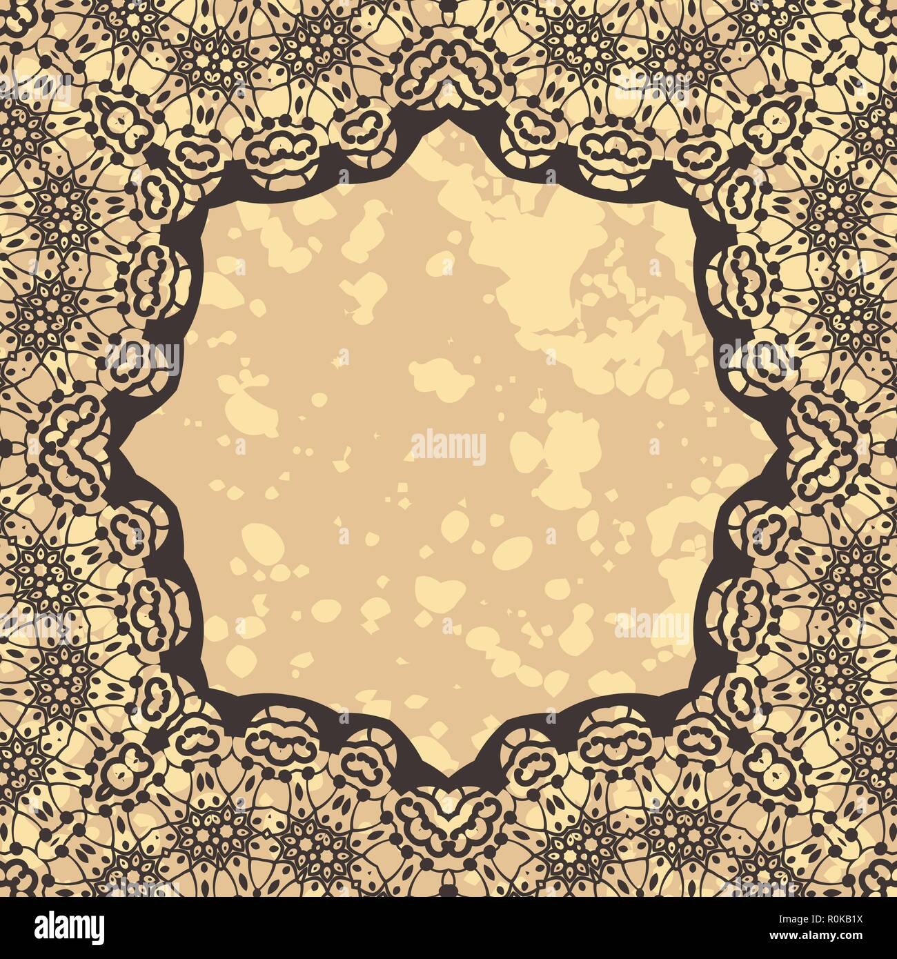Stylized Elegant Islamic Template Design In Henna Background Stock