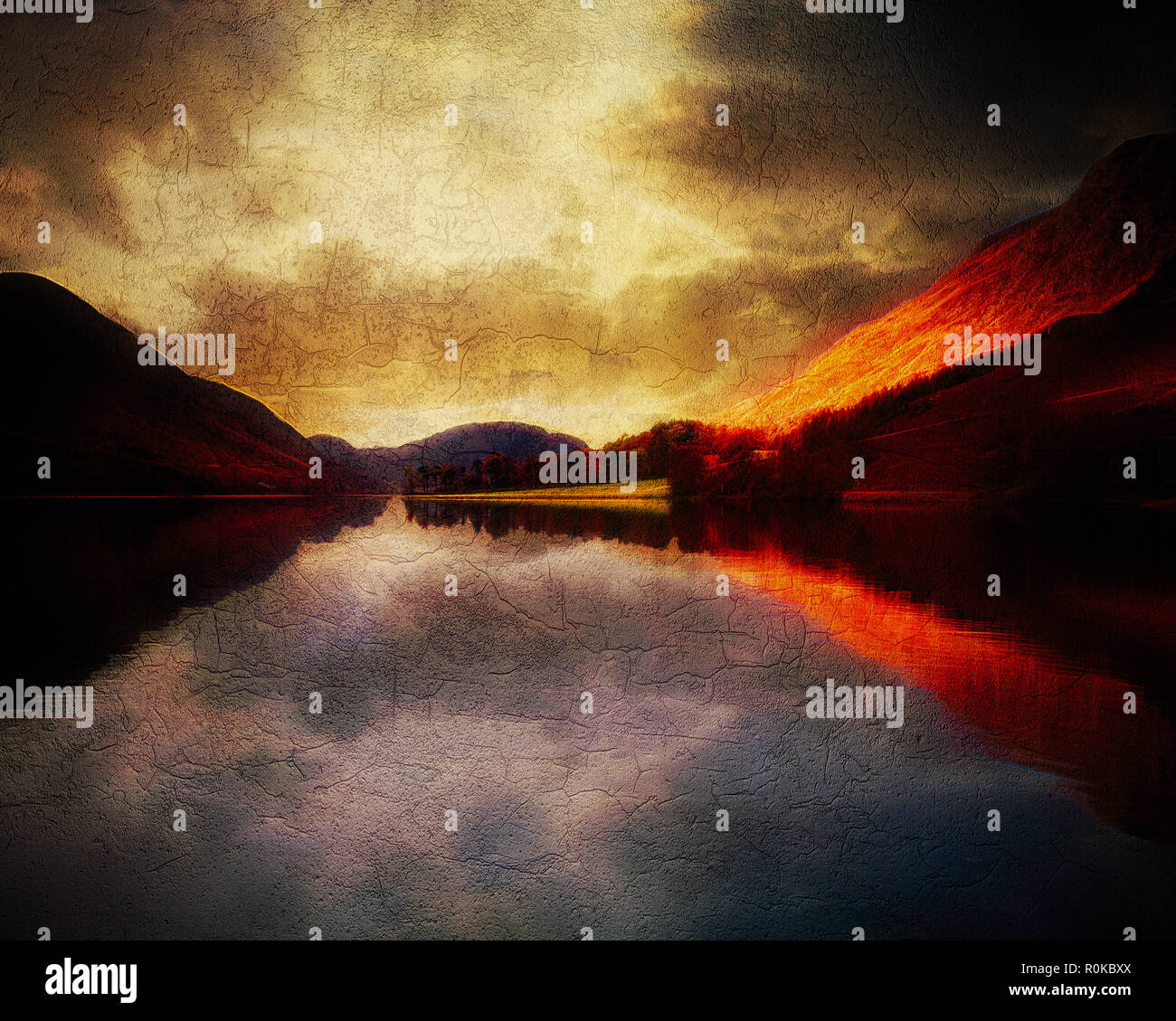 DIGITAL ART: Buttermere in the Lake District National Park Stock Photo