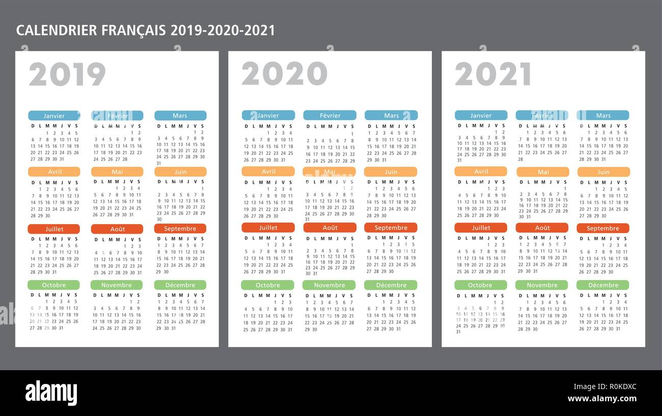 Calendrier 2019 Et 2021 French calendar 2019 2020 2021 vector template text is outline