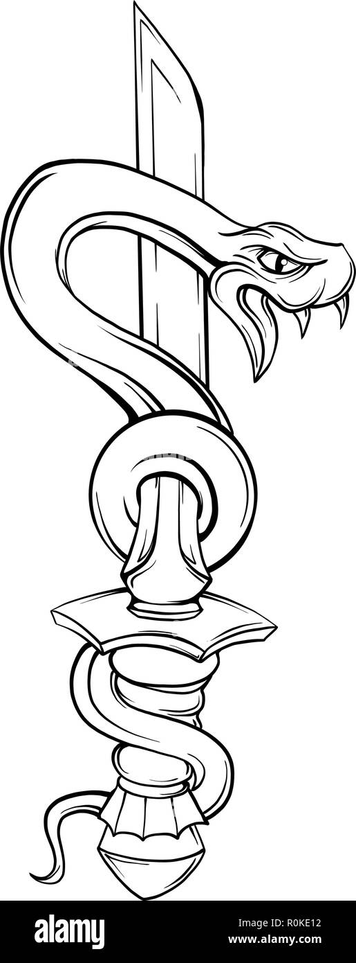Snake with sword. Old school tattoo style. Isolated element on white background. Vector illustration - Stock Vector