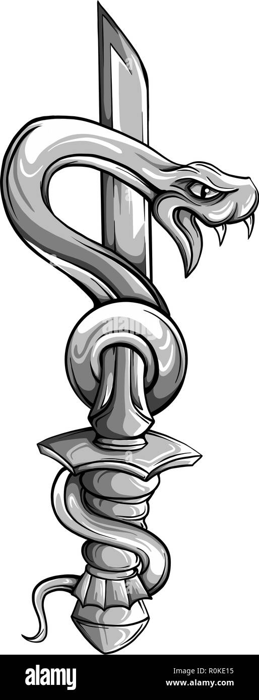 Vector tattoo dagger with snake. Dagger decorated with large blue sapphire. Snake wraps around ancient oriental dagger. Old school style. Traditional Tattoo Design. - Stock Vector