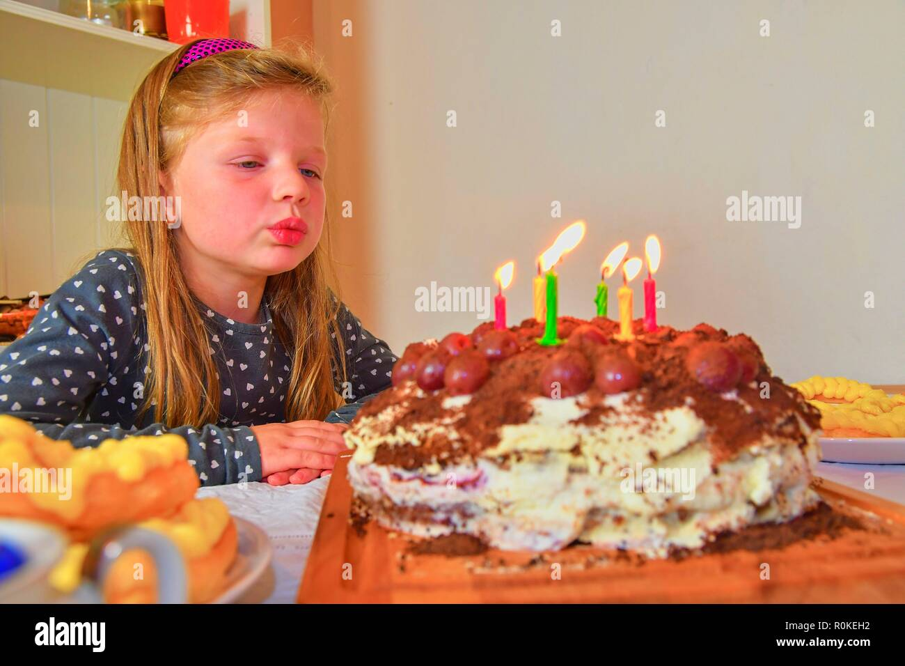 Little Girl Blowing Out Candles On Her Birthday Cake Small Celebrating Six