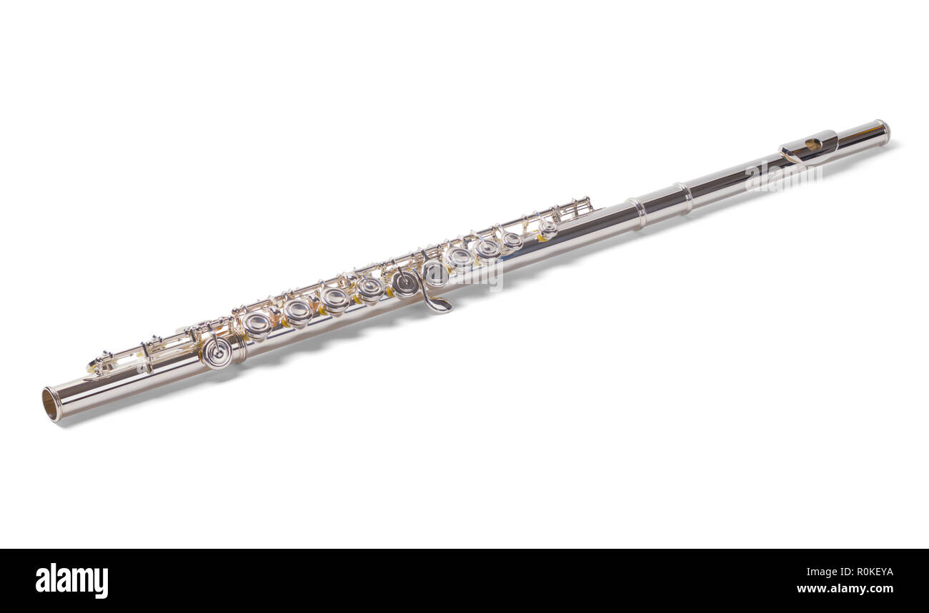 Shiny Silver Flute Isolated on a White Background. - Stock Image