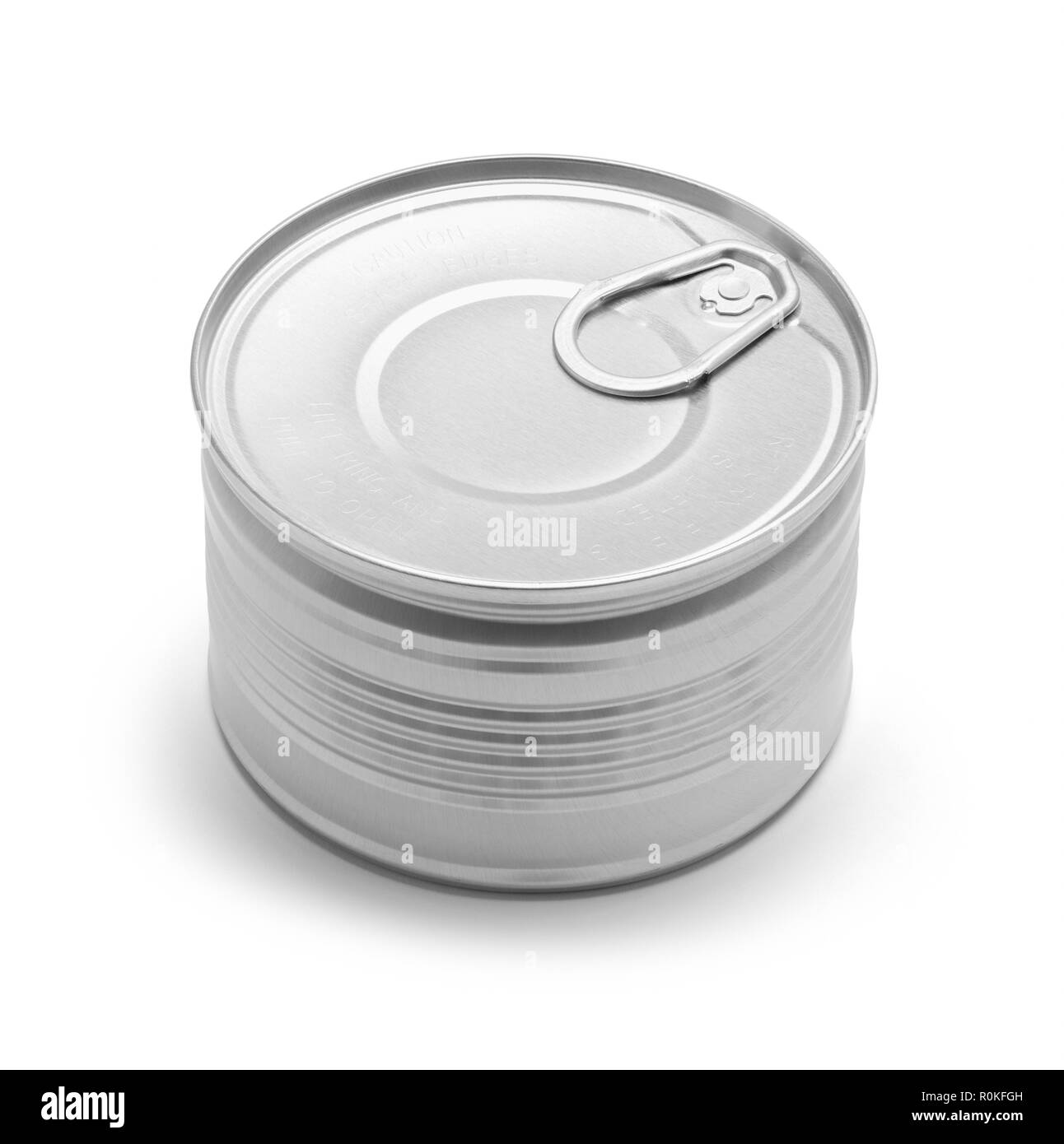 Small Closed Pull Tab Tin Can Isolated on a White Background. - Stock Image