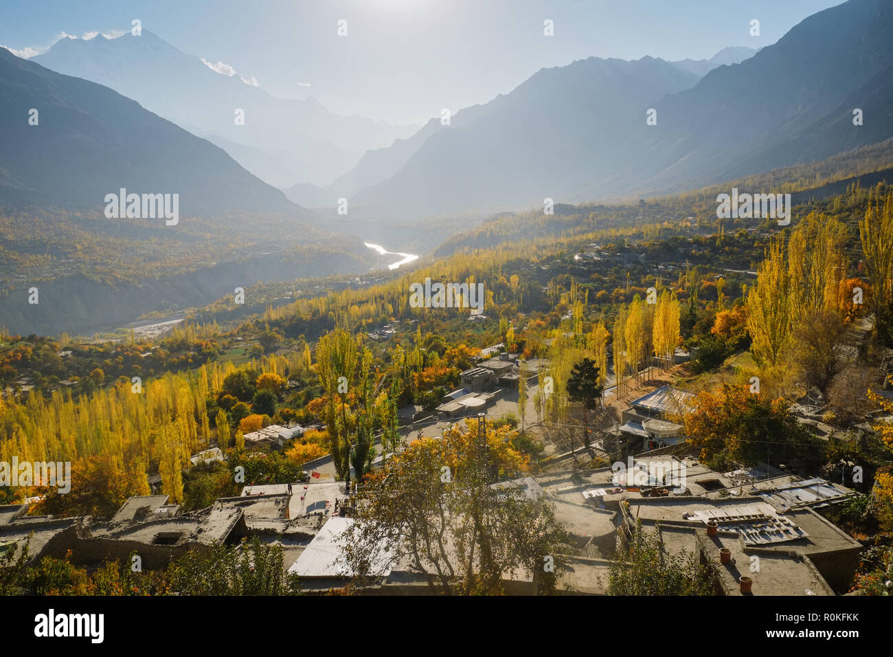 Landscape view of autumn in Hunza valley, Gilgit-Baltistan, Pakistan. - Stock Image