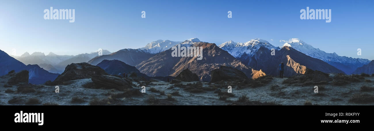 Panoramic view of mountains in Karakoram range. Pakistan. - Stock Image