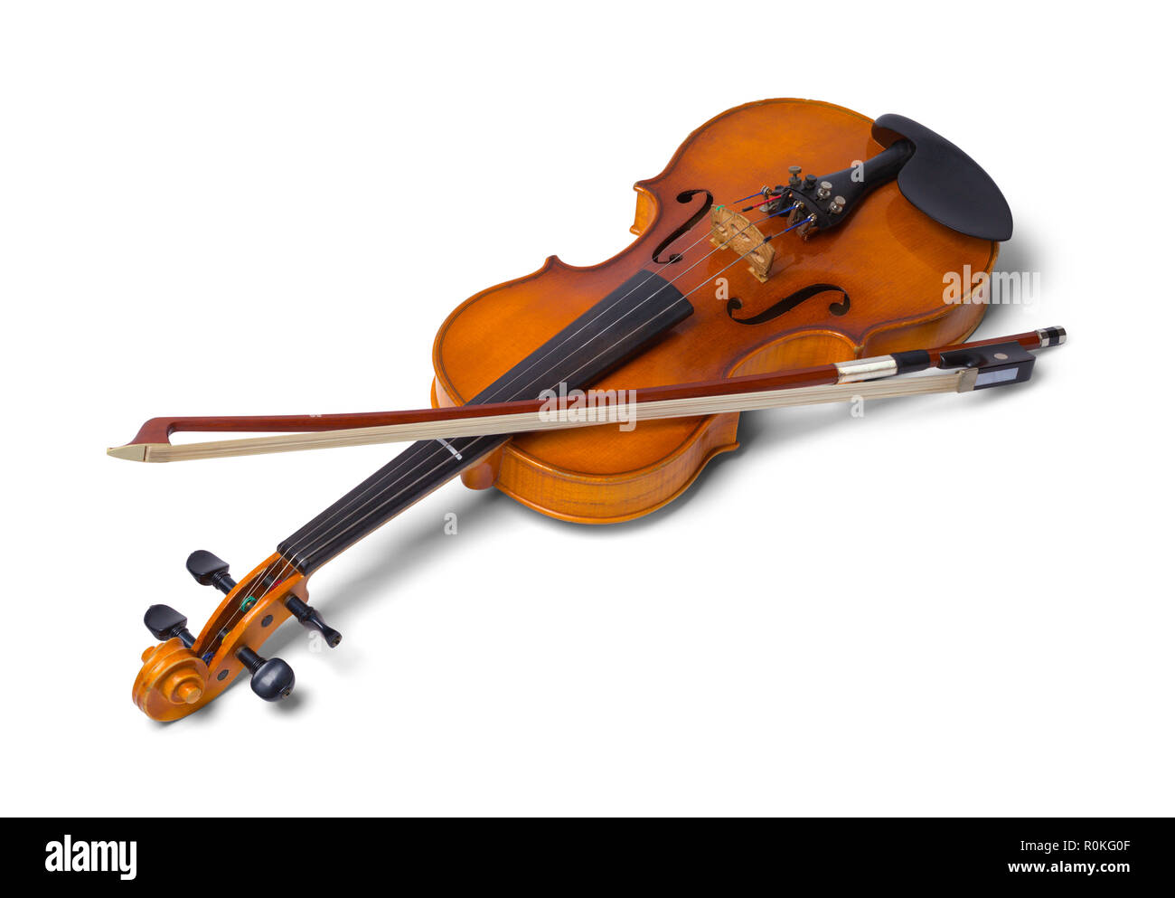 52a8dfb633be Violin with Bow Isolated on a White Background. - Stock Image