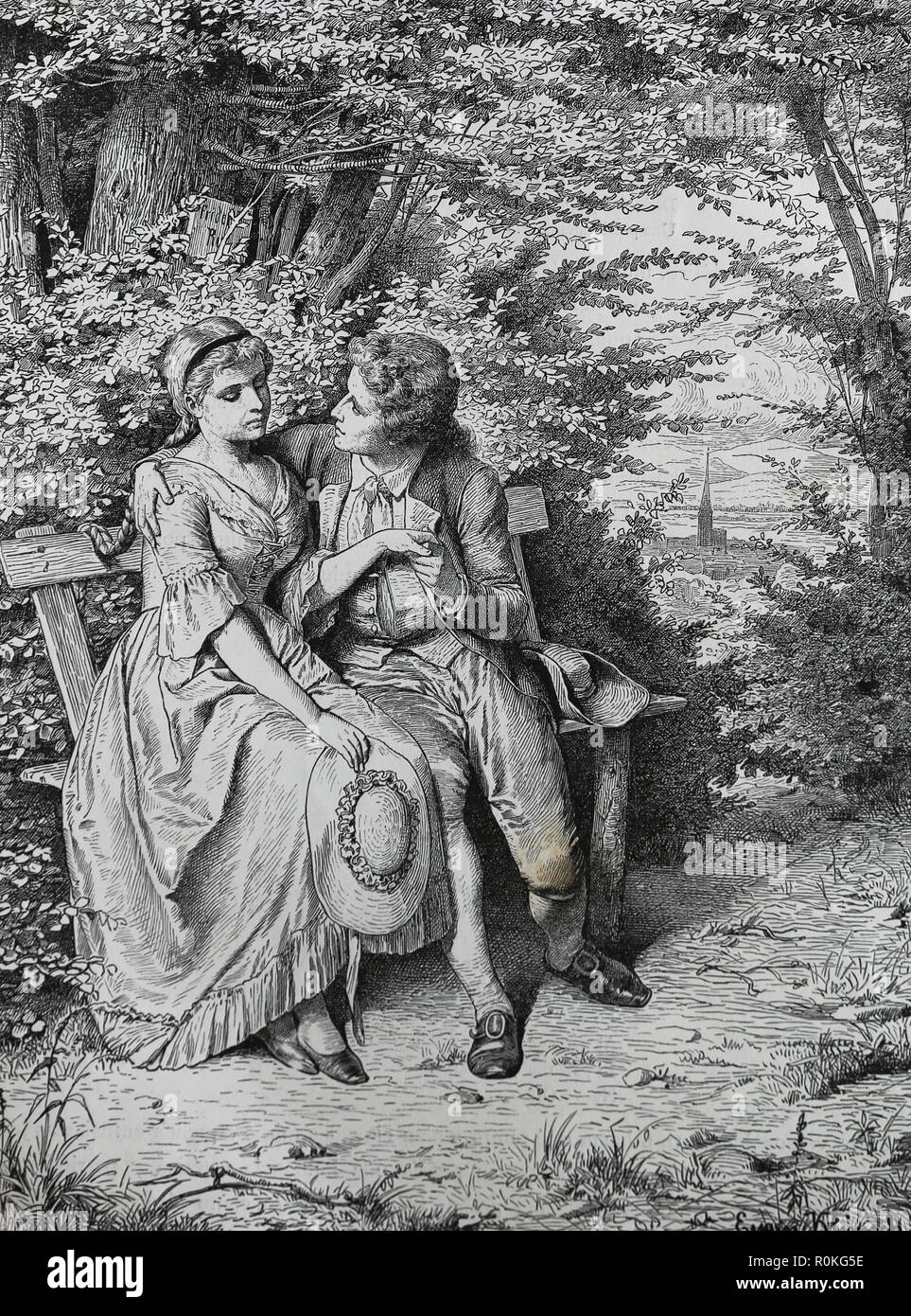 German writer Johann Wolfgang von Goethe (1749-1832) with Friederike Brion (1752-1813). Engravin of Germania, 1882. - Stock Image
