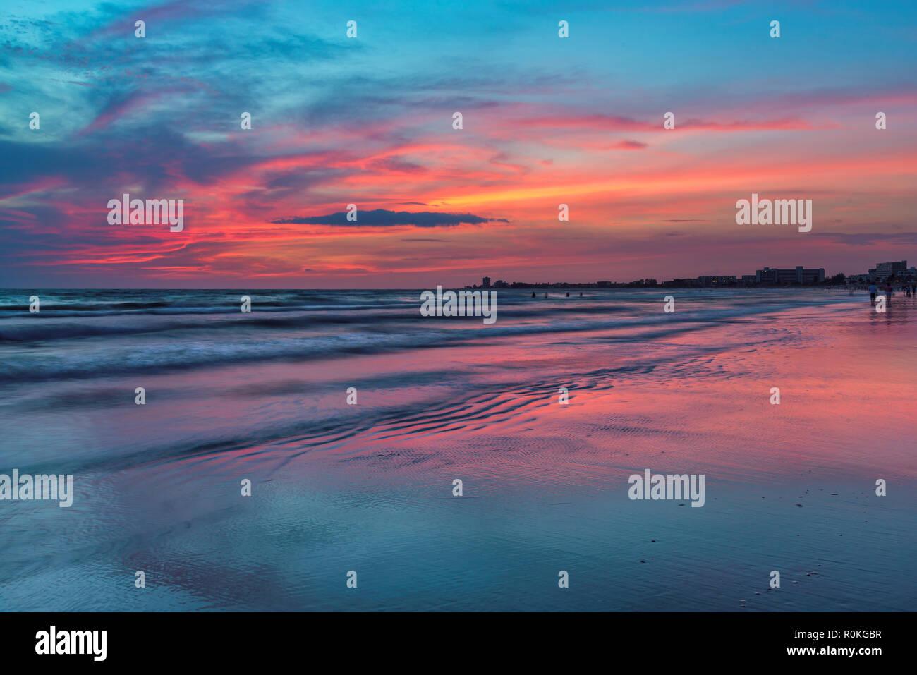 Sunset at Siesta Key beach, Florida, - Stock Image
