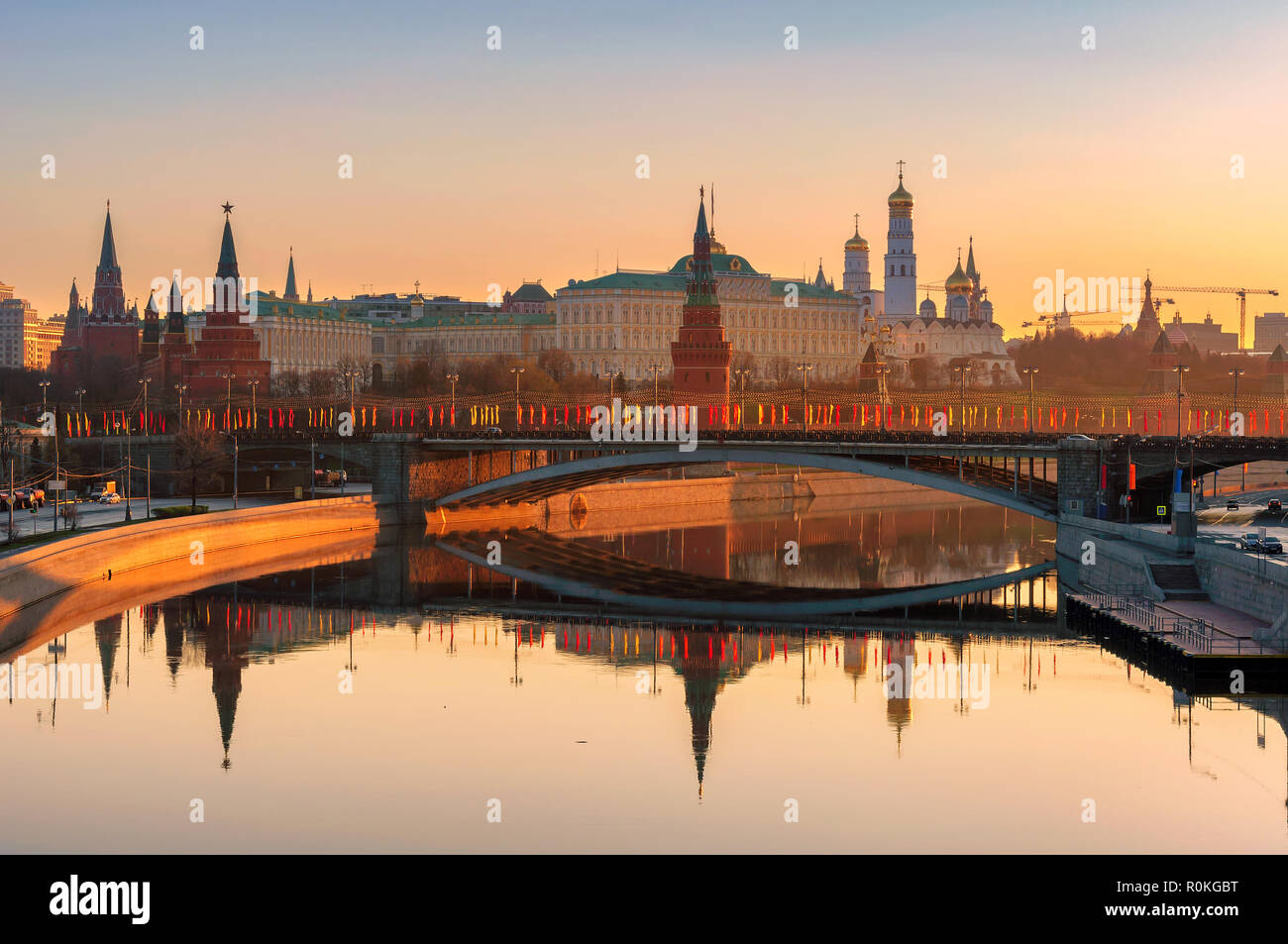 Moscow Kremlin at sunrise, Russia - Stock Image