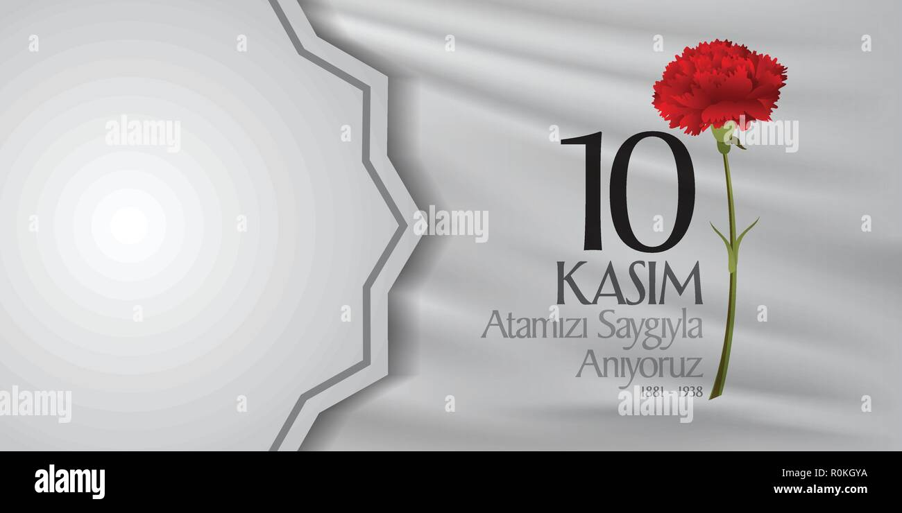 10 November, Mustafa Kemal Ataturk Death Day anniversary. Memorial day of Ataturk. Billboard and wishes card Design. - Stock Vector