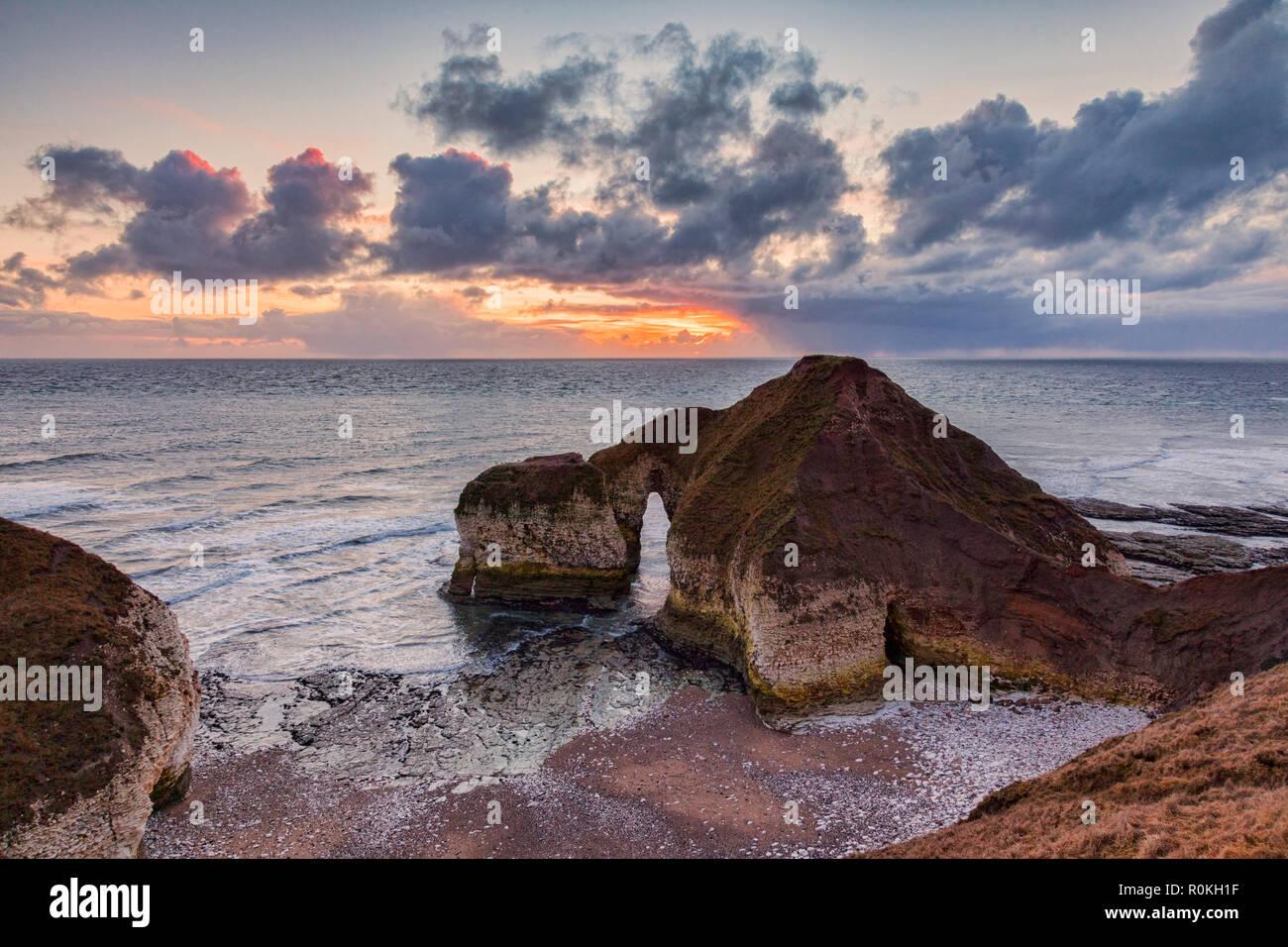 Limestone rock formation known as the Dinosaur, Flamborough Head, East Yorkshire, England, UK. - Stock Image