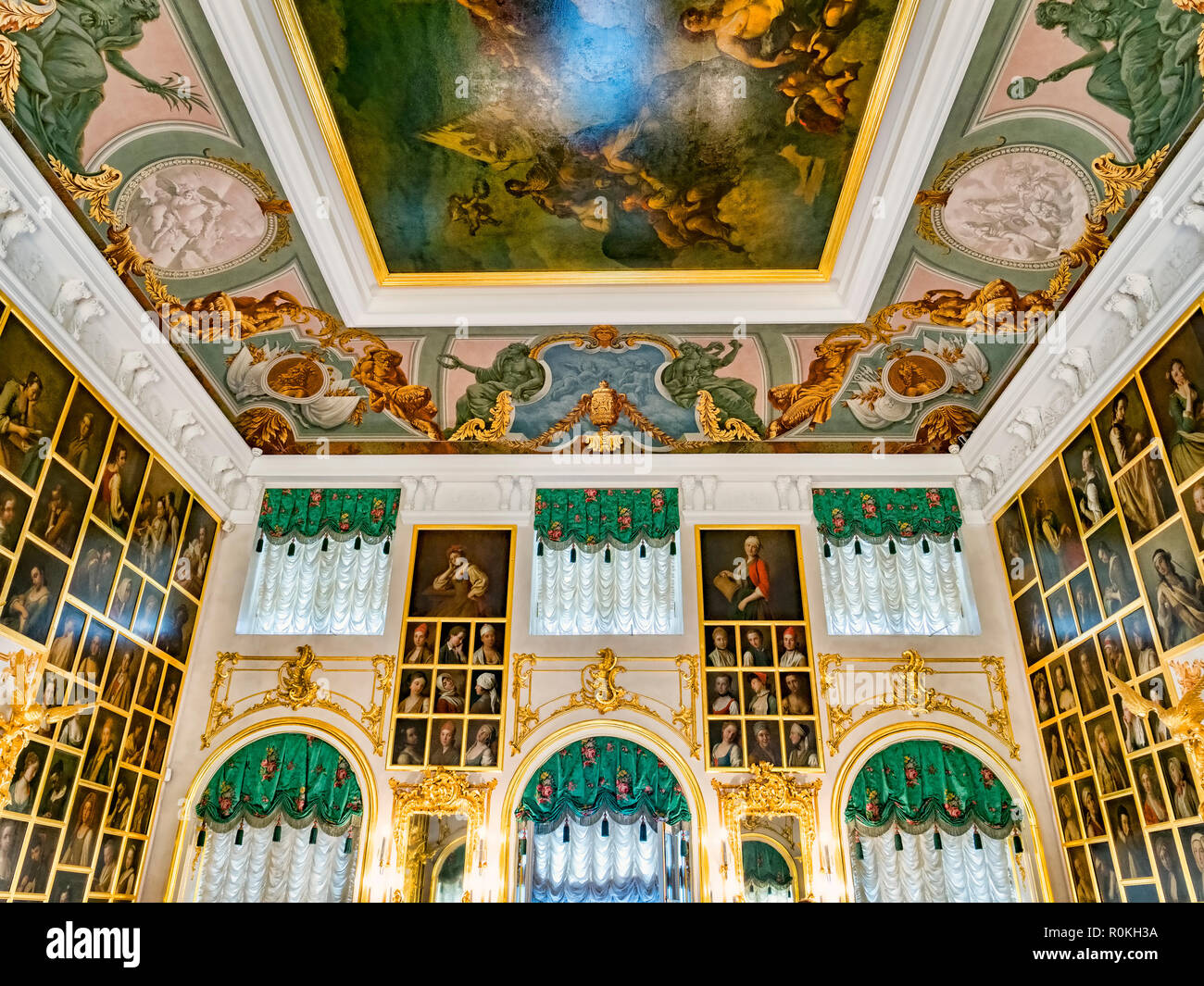 18 September 2018: St Petersburg, Russia - The Portrait Hall in Peterhof Grand Palace. Stock Photo