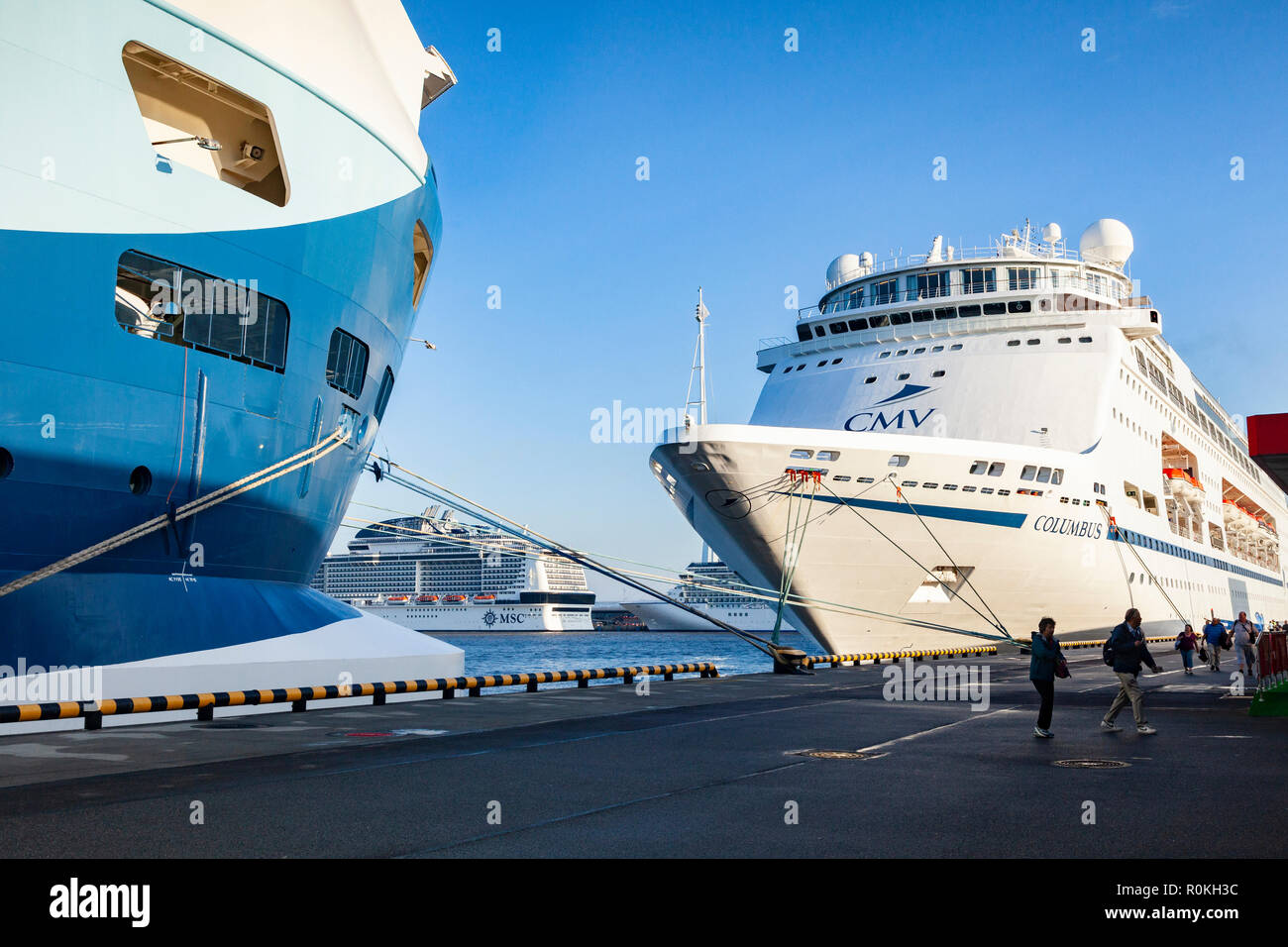 September 19 2018: St Petersburg, Russia - Cruise ships moored at Marine Facade, the passenger terminal for St Petersburg. - Stock Image