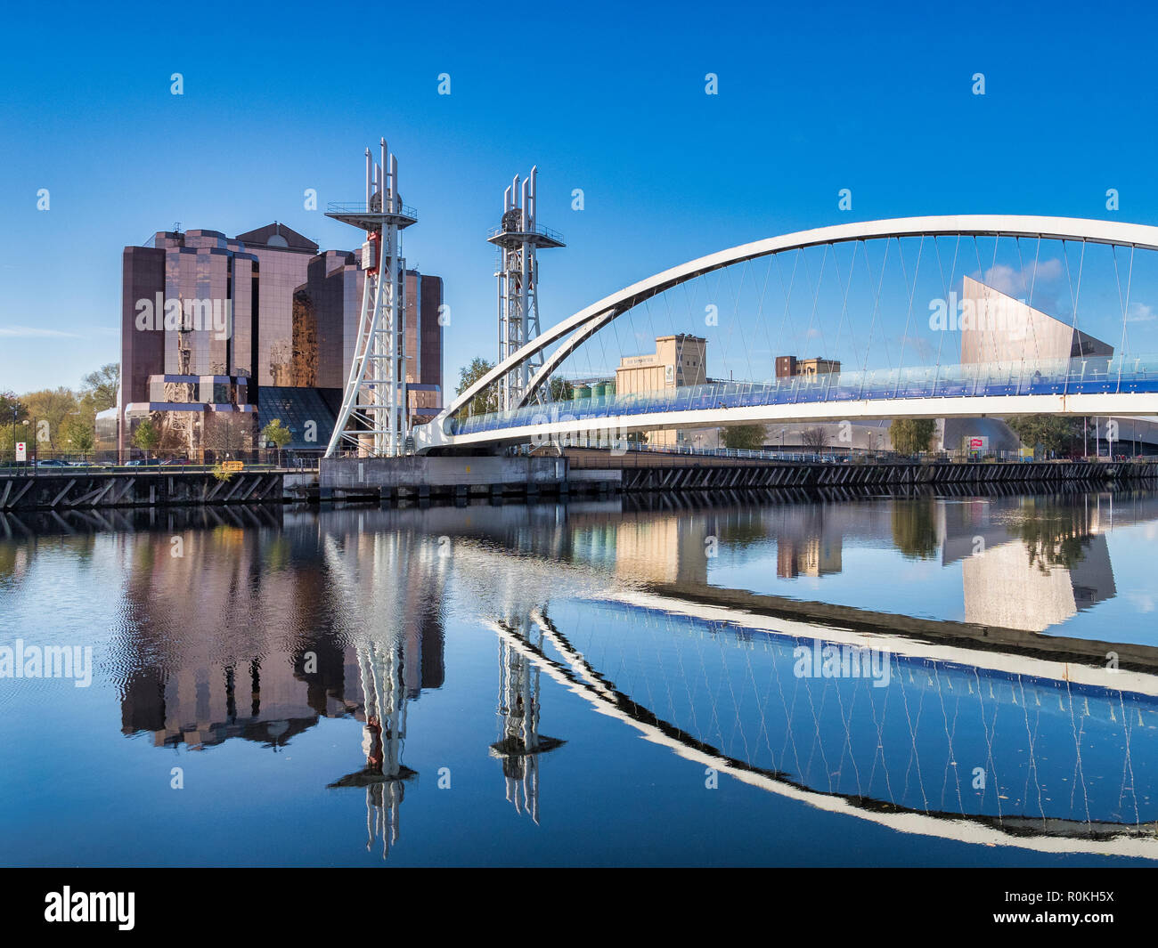 2 November 2018: Salford Quays, Manchester, UK - The Lowry Bridge, or Millennium Footbridge, which spans the Manchester Ship Canal between Salford and - Stock Image