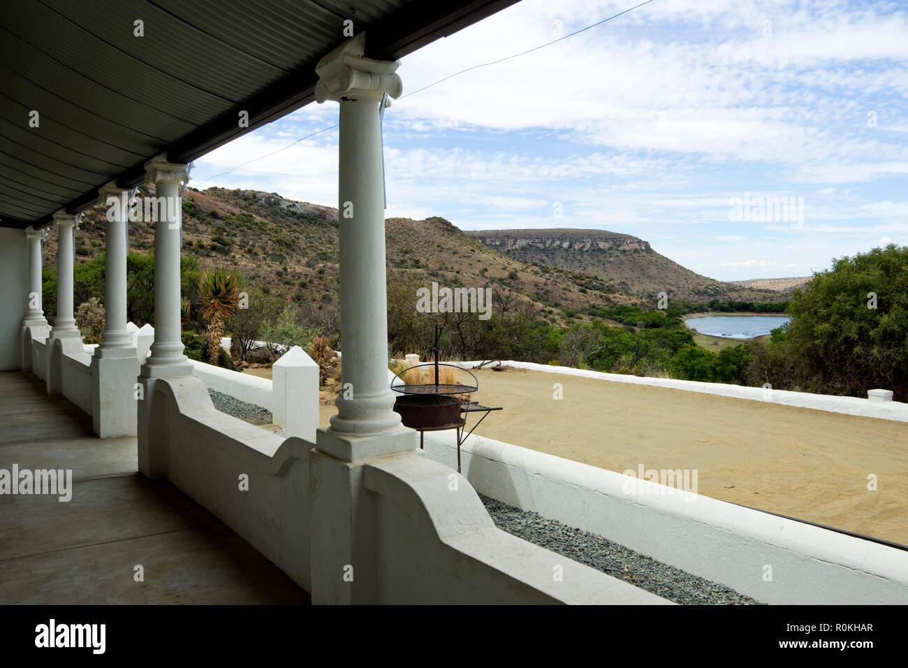 View from a veranda at Mountain Zebra bush lodge - Stock Image
