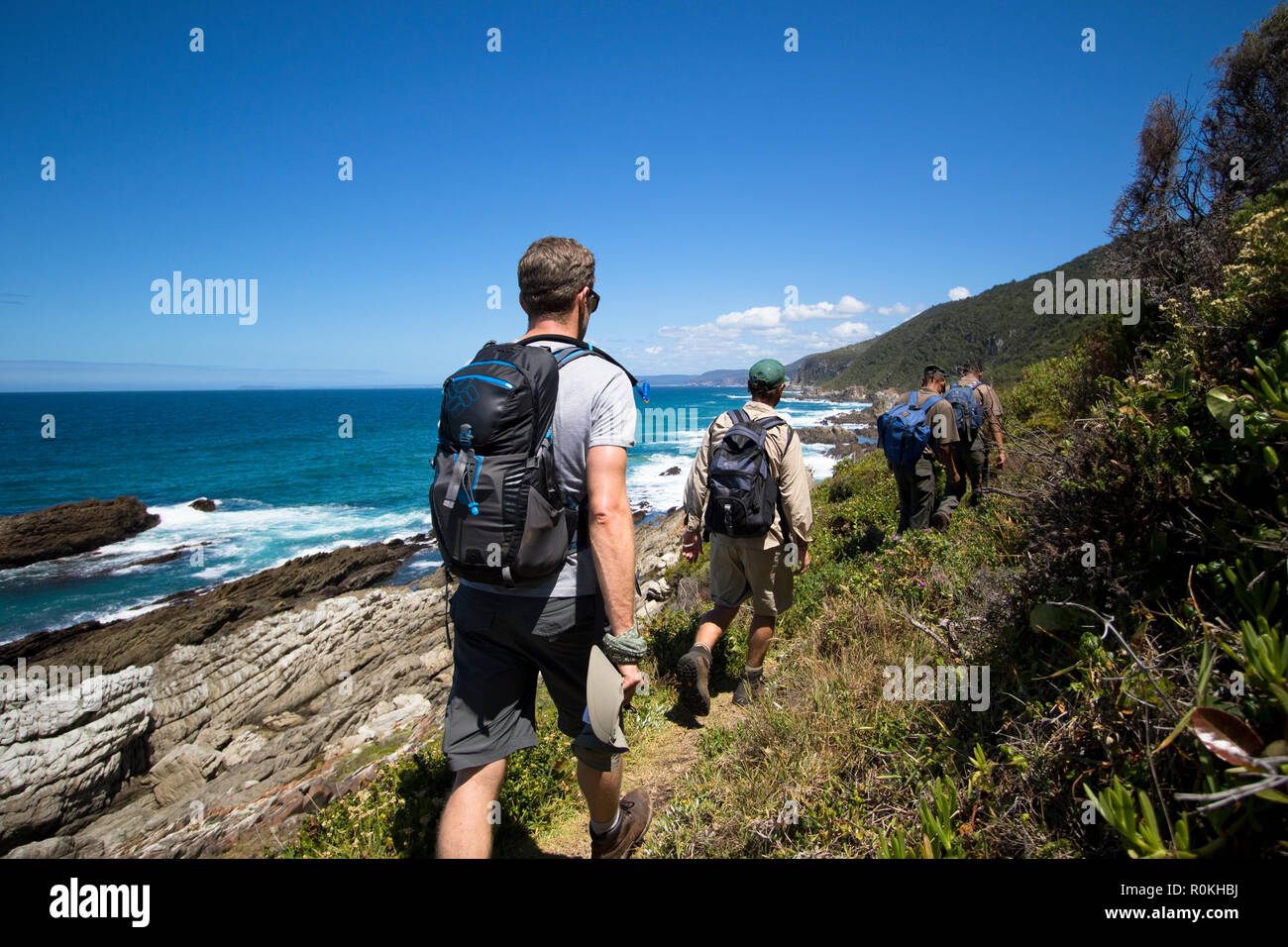 Hikers on the Otter Trail - Stock Image
