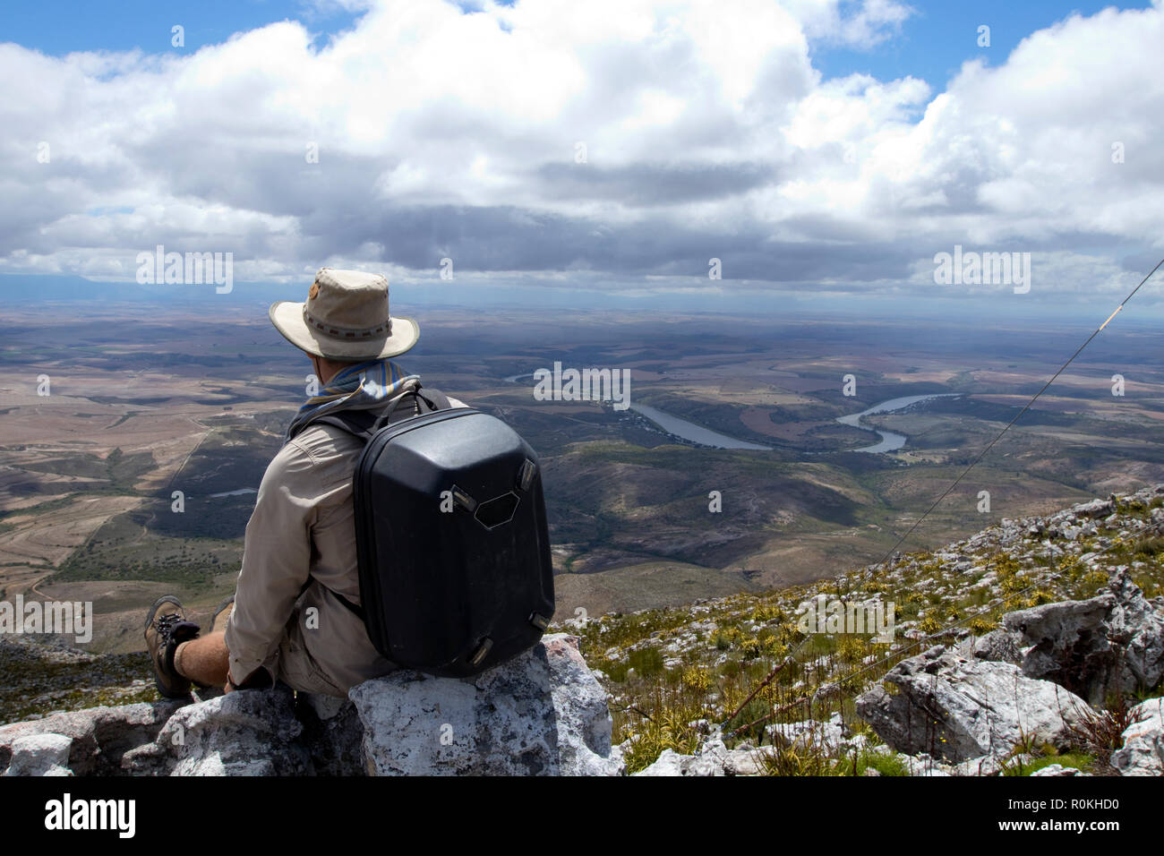 Man sitting picturesque landscape of the De Hoop Nature Reserve - Stock Image