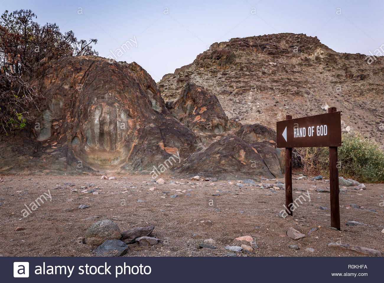 A natural rock formation called 'The Hand of God' found in the Richtersveld National Park - Stock Image
