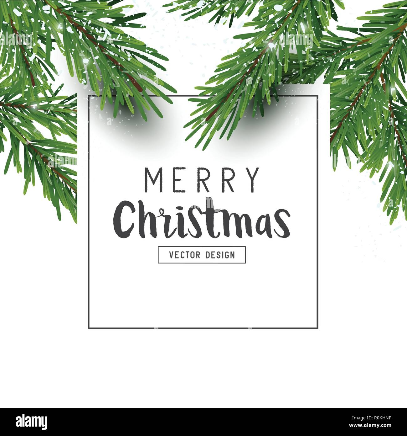 Christmas Branch Vector.Festive Christmas Design Layout Composition With Fir Tree