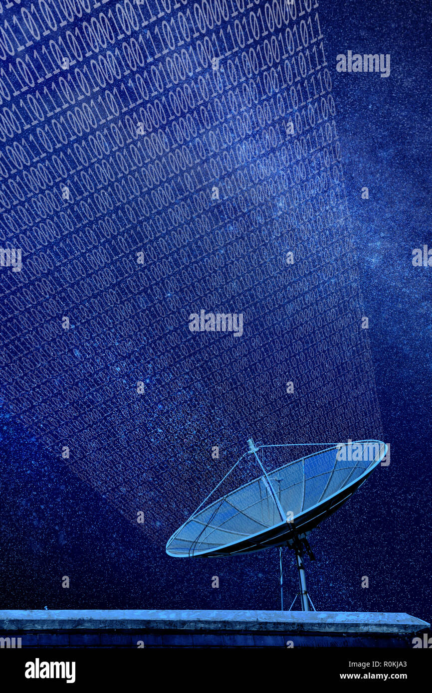 Conceptual image of a satellite dish antenna over night sky with abstract light manipulation and binary code Stock Photo