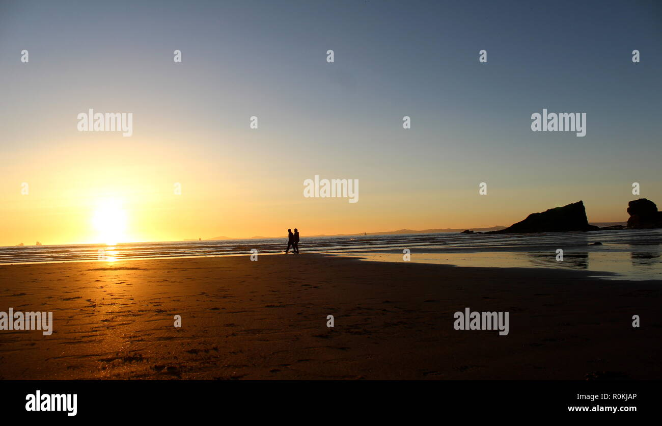 Sunset at Broad Haven Beach, South Wales - Stock Image