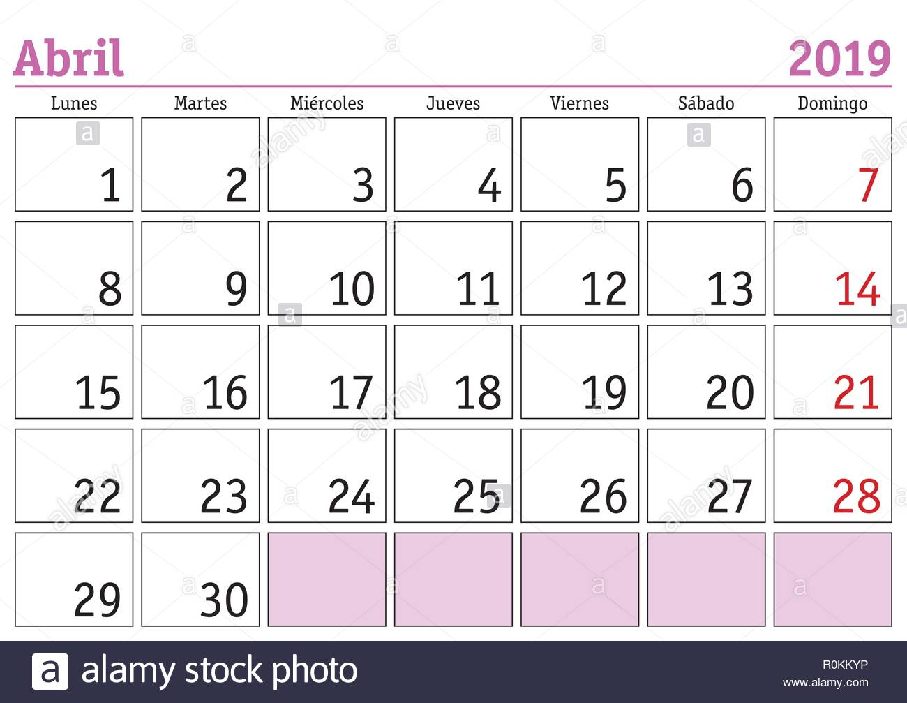 Calendario 2019.April Month In A Year 2019 Wall Calendar In Spanish Abril