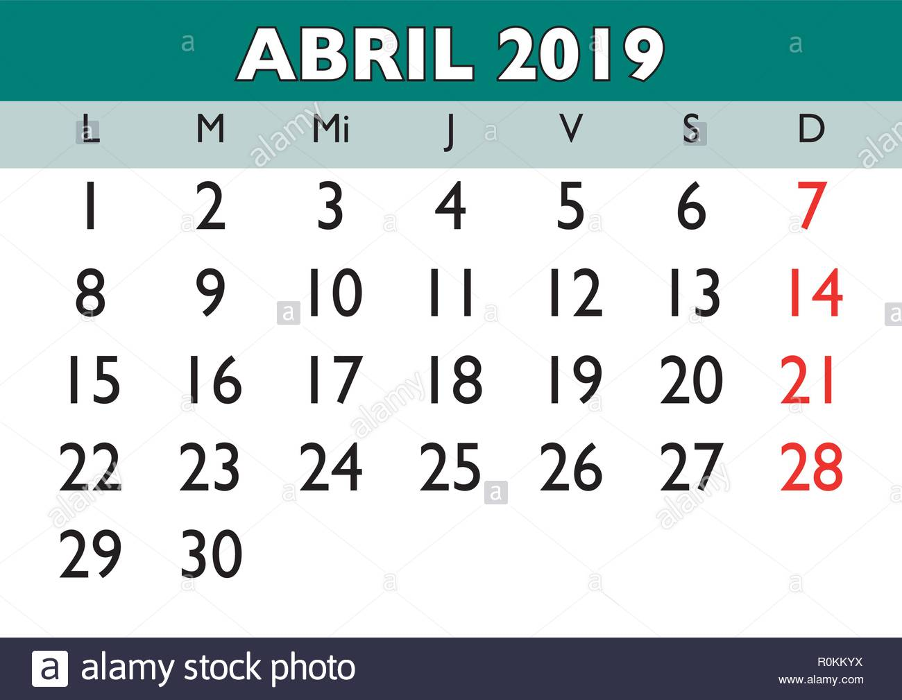 Calendario 2019 Mes A Mes.April Month In A Year 2019 Wall Calendar In Spanish Abril 2019