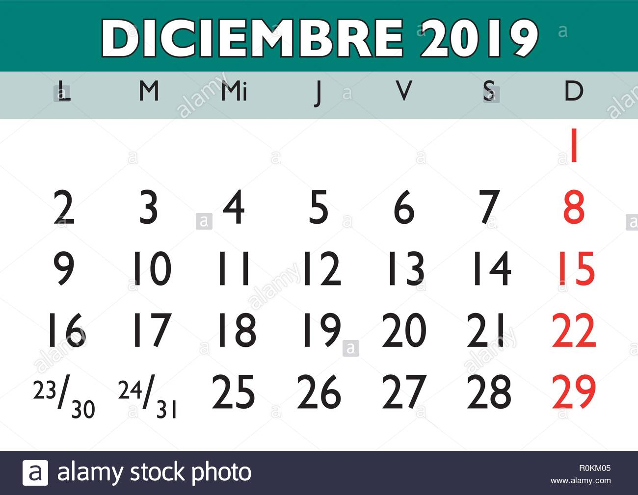Calendario D.December Month In A Year 2019 Wall Calendar In Spanish