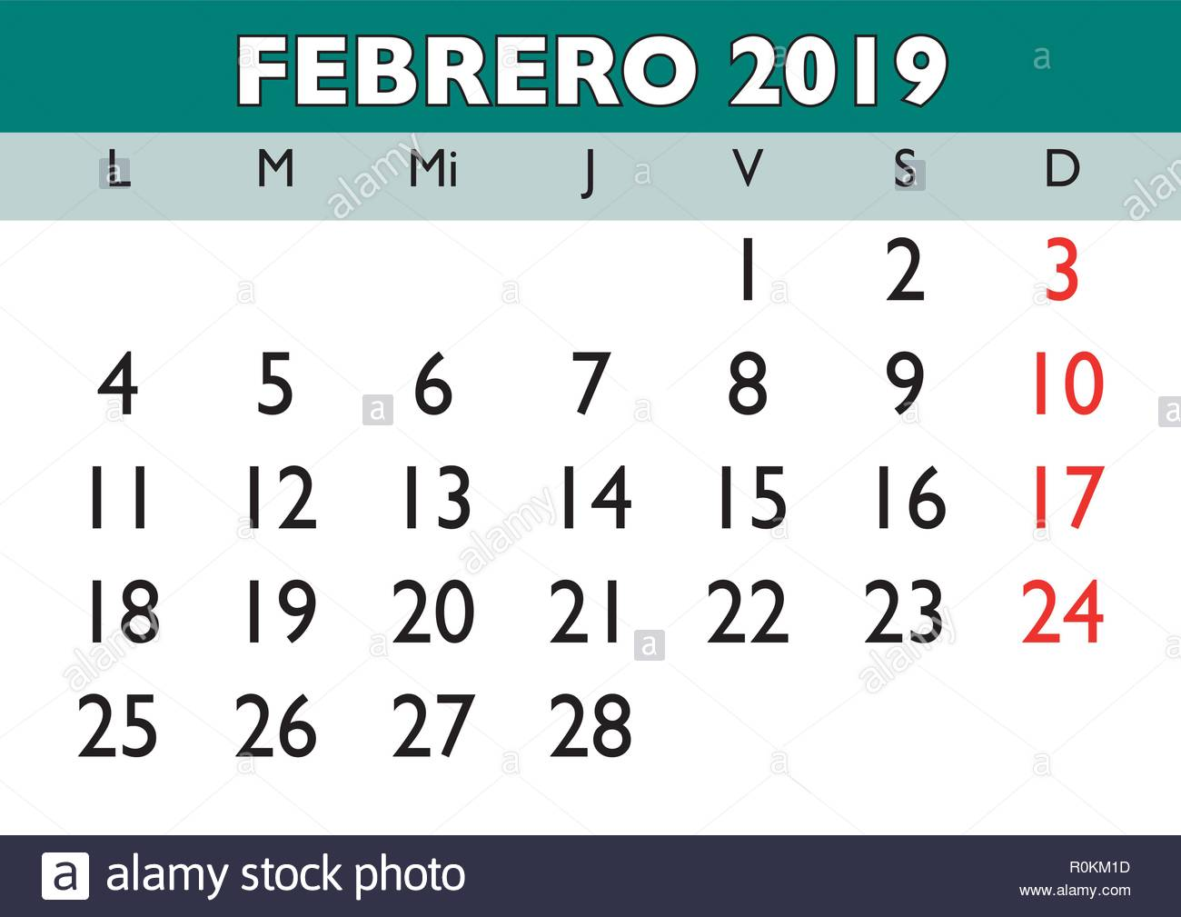 Febrero 2019 Calendario.February Month In A Year 2019 Wall Calendar In Spanish Febrero 2019
