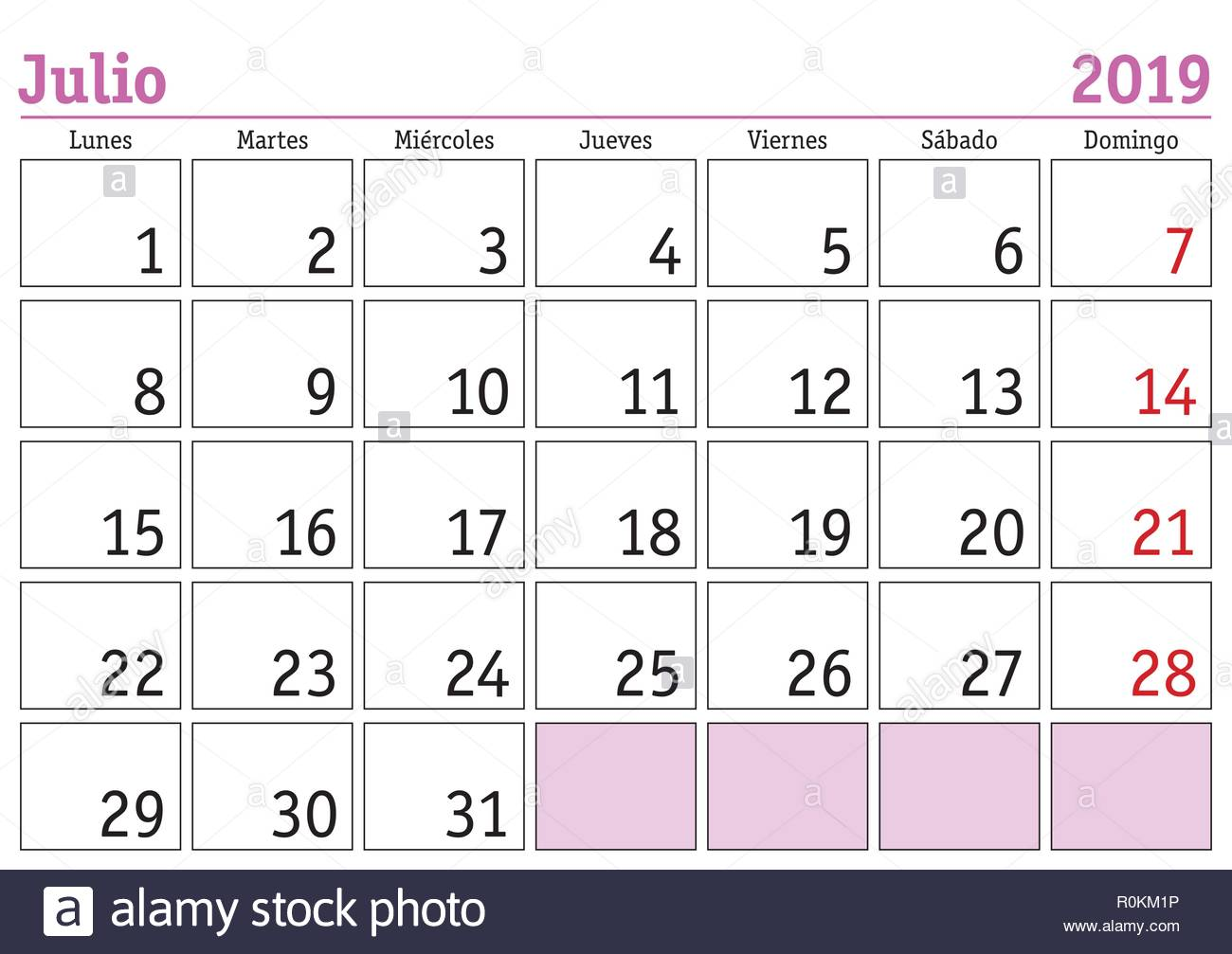 Julio 2019 Calendario.July Month In A Year 2019 Wall Calendar In Spanish Julio 2019