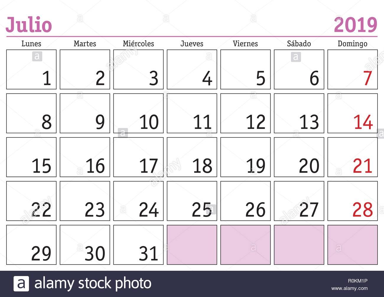 Julio Calendario 2019.July Month In A Year 2019 Wall Calendar In Spanish Julio 2019