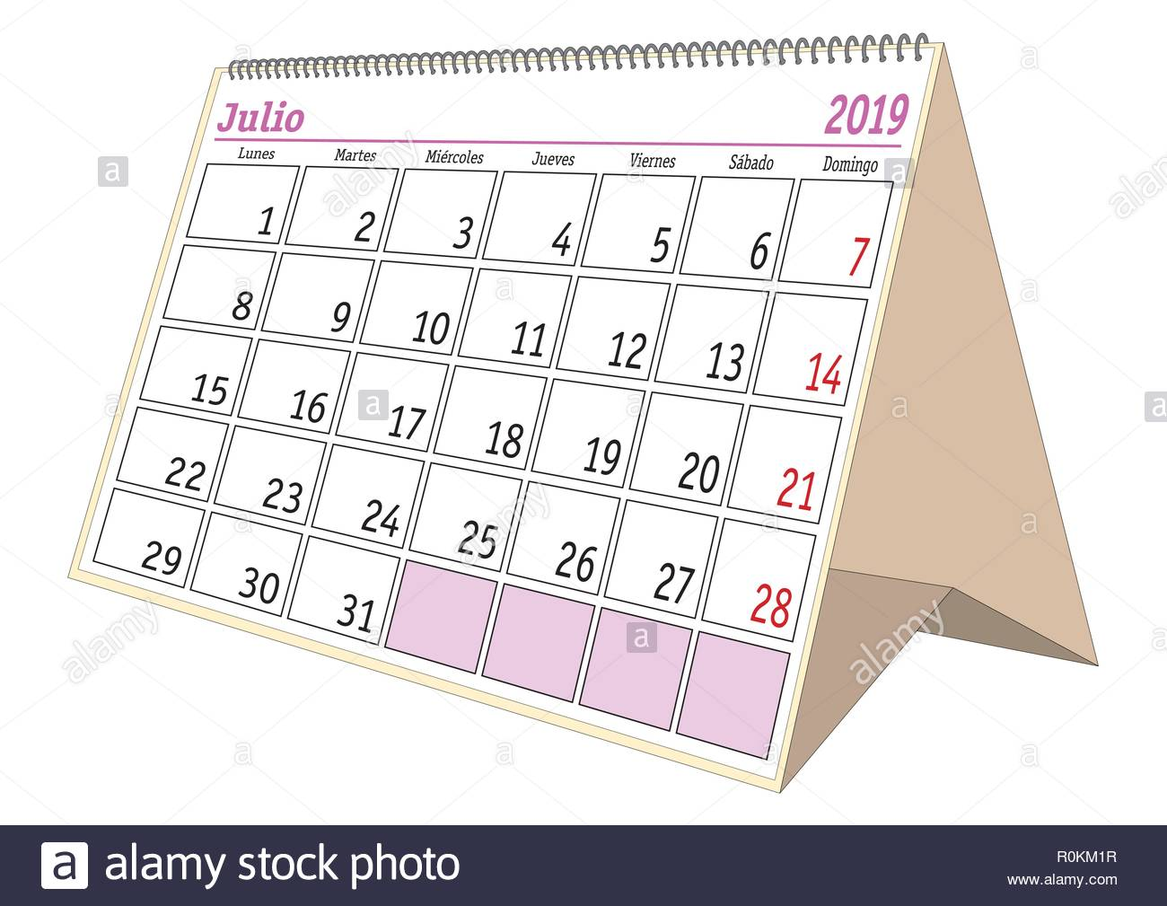 Calendario Julio 2019 Vector.July Sheet In An Spanish Desk Calendar For Year 2019