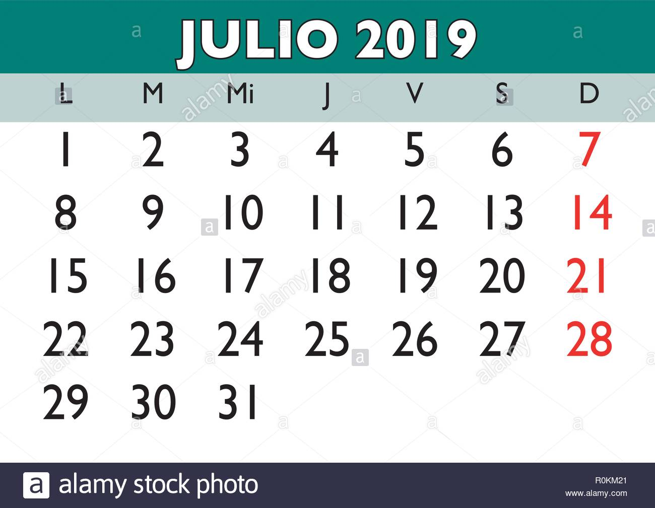 Calendario Julio 2019 Vector.July Month In A Year 2019 Wall Calendar In Spanish Julio