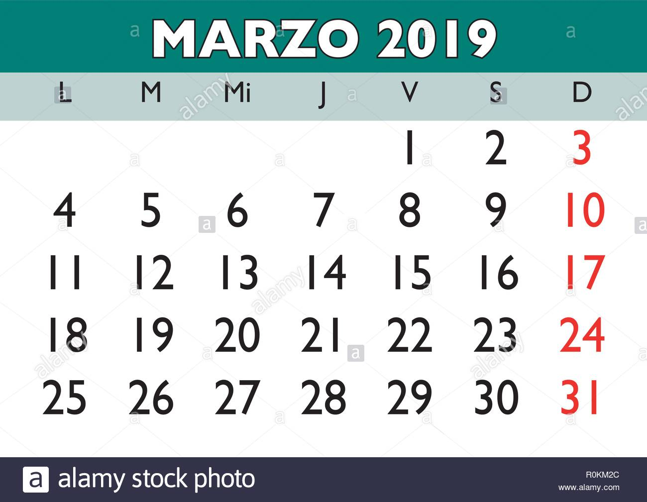 Calendario 2019.March Month In A Year 2019 Wall Calendar In Spanish Marzo